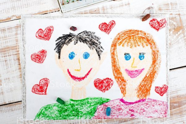 happy couple: colorful drawing